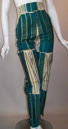 1960 | Emerald, Cream with Gold Asian Influenced Print Cigarette Pant by Alfred Shaheen