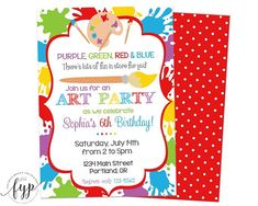 Celebrate your little artists birthday with this adorable art party invitation. This printable art party invite features a brightly colored paint splatter design. Personalize it with all the fun details you want and choose the format you need — a digital file or have us print them