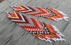 Extra Long  Native American Style Seed Bead Earrings in white, red, orange tones.