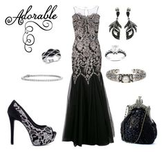 """""""Adorable Cavier Sequinned"""" by donnalynnginn ❤ liked on Polyvore featuring Badgley Mischka, Phillip Gavriel, Ice, Jessica Simpson, Blue Nile and Goldmajor"""