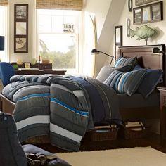 Modern Teenage Boys Bedroom Ideas with Dark Gray Bedding Sets