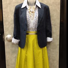 Talbots chartreuse green skirt, 18.00, J Crew Shirt, 14.00, navy blazer, 16.00, J Crew gold belt 12.00 & necklace 6.00. Clothes Mentor Wilmington can put an outfit like this one together for YOU, at a fraction of the cost!!