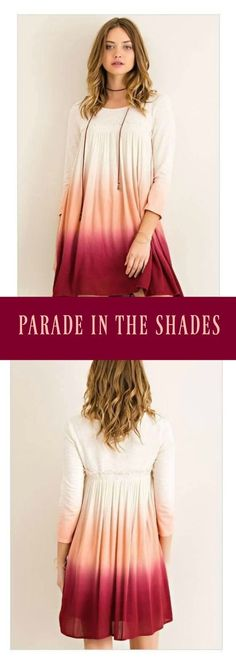 Parade In The Shades Peach Burgundy Red Ombre Dress   An amazingly fun dress that is perfect for the weekends or anytime during your busy schedule. Lightweight knit and oh so fun with the multi color Rosewood Burgundy Ombre colors flowing down the dress. Smocking detail at bust with edge ruffle for a flirty accent. Slip on style dress. - burgundy dress - peach dress - cream dress - long sleeve dress - ombre dress    www.ledyzfashions.com