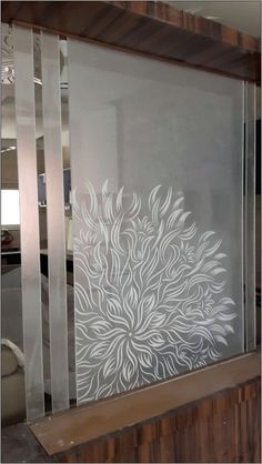 Elegand Dining Room With Decorative Window Film Glass Partition Designs, Glass Partition Wall, Living Room Partition Design, Glass Film Design, Wall Design, House Design, Pooja Room Design, Design Bedroom, Room Divider Doors