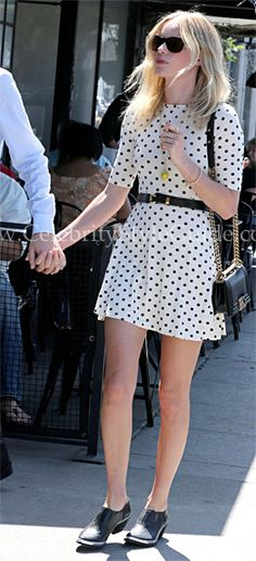 Seen on Celebrity Style Guide: Kate Bosworth wore a spot print ASOS Skater Dress and Theyskens� Theory Ying Booties while leaving Joan�s on 3rd in Los Angeles June 21, 2012.