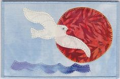 Seagull at Sunrise Quilted Fabric Postcard by zizzybob on Etsy