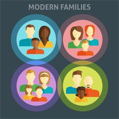 Modern Families Day Cute Colorful Labels Collection Vector Free Download