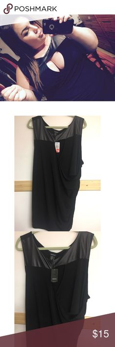 Black tank top with faux leather This is a beautiful black tank top with faux leather on the top. Revealing in the bust. Cinching on the left side towards the bottom. Brand new, with tags. Never had anywhere fancy enough to wear this, so now it can be yours! Perfect for going out on the town. SIZE 4X BUT FITS MORE LIKE A TIGHT 3X. torrid Tops Tank Tops
