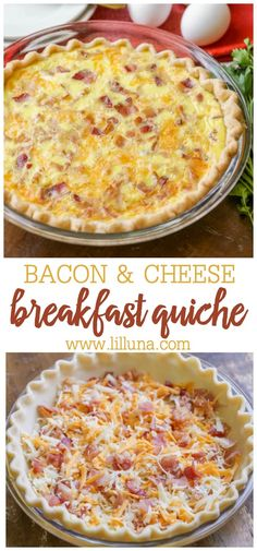 Bacon and cheese quiche makes the perfect hot breakfast to share with a crowd. I… Bacon and cheese quiche makes the perfect hot breakfast to share with a crowd. It's filling, savory, and full of delicious flavors. Quiche Muffins, Breakfast Quiche, Bacon Breakfast, Breakfast Dishes, Breakfast Time, Breakfast Casserole, Best Breakfast Recipes, Recipes For Breakfast, Breakfast Ideas With Eggs