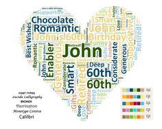 Personalized 60th Birthday Gift 60th Birthday Heart Word Art Gift 8 X 10 Print 60th Bithday Gift Ideas