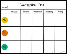 Weekly Menu Plan Fre