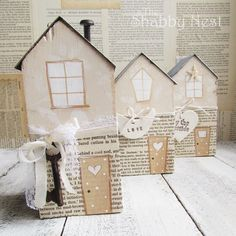 The Shabby Nest - House Blocks Wood Block Crafts, Wooden Crafts, Wood Projects, Wooden Blocks, Wooden Houses, Glass Blocks, Pintura Country, Putz Houses, Paper Houses