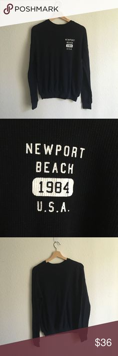 Brandy Melville Navy Kian Newport Beach Thermal In a great condition. Brandy Melville Tops Sweatshirts & Hoodies