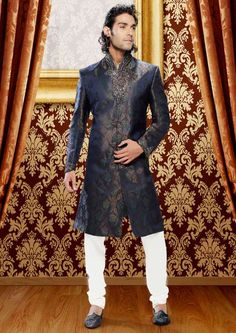 #Blue and #Green Brocade Readymade #Sherwani with Churidar @ $387.77