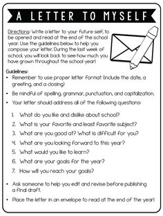 End of School May. Twist this and have your teachers write this for themselves. Edit the questions to reflect your goals for your school year! Fun first day activity: Have kids write a letter to themselves at the end of the year. Teaching Writing, Kids Writing, Writing Activities, Music Writing, Music Essay, Goal Setting Activities, Vocabulary Activities, Therapy Activities, First Day Of School Activities