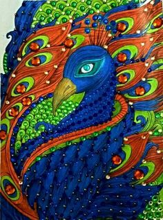 Mosaic Stairs, Peacock Artwork, Peacock Bird, Peacocks, Adult Coloring Pages, Butterflies, Feather, Paintings, Drawings