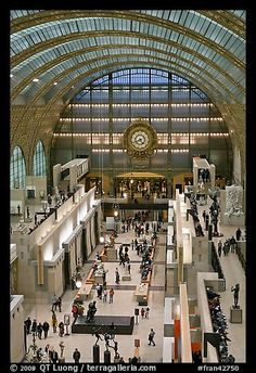Inside the Musee d'Orsay, formerly the train station, la Gare d'Orsay, Paris, France. A magnificently creative rehabilitation of an unused space.