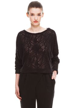 Marlow Top by Valerie Dumaine.  Lace knit pullover.