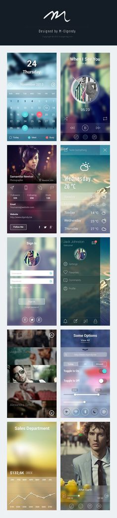 Blur app ui design - #calendar #profile #weather #signin #nav #charts