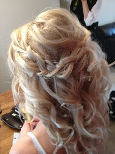 Half up hair with plait to one side
