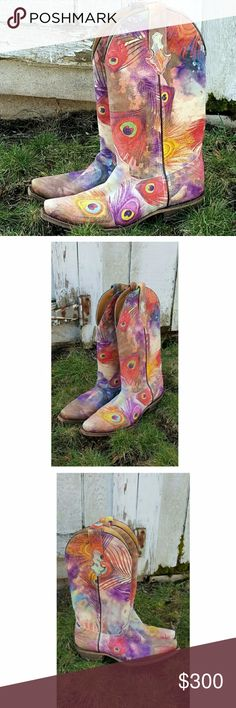 """Printed Peacock Feathers on Leather Cowgirl Boots No words needed for these beauties!   ⚬Handcrafted for CoFi leathers, a small family business ⚬100% High Quality Genuine printed leather ⚬Traditional western-style topline with pull on straps and pointed toe ⚬Stunning peacock design, using patented Italian transfer foils ⚬Distressed Leather sole ⚬Stacked 2.5"""" heel ⚬Pattern placement will vary ⚬Fit is slightly large, suggest 1/2 size down ⚬Limited supply  ***PRICE IS FIRM, NO OFFERS, NOT…"""