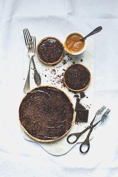 ... salted butter caramel and chocolate tart ...