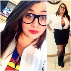DIY Clark Kent Costume! Super easy costume that you most likely have half of the costume in your closet already! This costume is great for all sizes of women! I was very comfortable and I am a plus size. #halloween #costume #diy #diyhalloweencostume