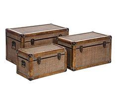Set de 3 baúles de madera y mimbre II