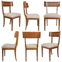 Set of Six Swedish Art Deco Klismos Dining Chairs in Elm