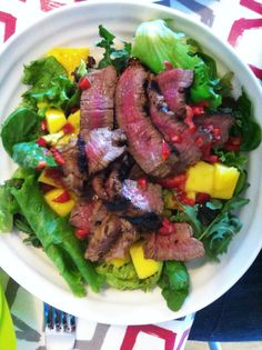 Mango and Steak Salad  Mango, seared beef medallion, avocado and chilli, with a lime and sesame oil dressing: recipe Hugh Fearnley Whittingstall for The Guardian