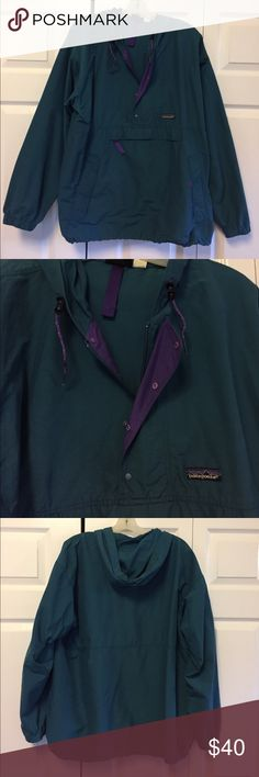 Women's Patagonia Rain/Wind Jacket Teal/Purple Women's Patagonia Rain/Wind Jacket. Lightweight and water resistant. Hooded with a large front pocket. Like new! Barely worn! Patagonia Jackets & Coats