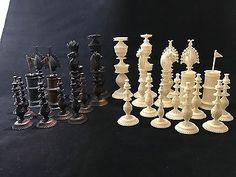 C Vizagapatam Chess Set Anglo Indian Chess Sets, New Pins, World Cultures, Candle Holders, Ceiling Lights, Indian, Antiques, Ebay, Chess