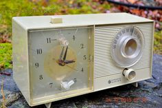 OLIVE TAUPE Mid Century Jetsons 1959 General Electric Model C-305A Tube AM Clock Radio Totally Restored! by RetroRadioFarm on Etsy