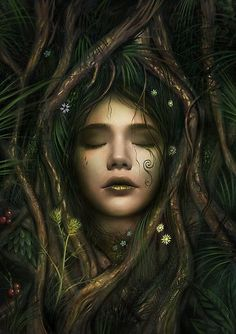 A dryad tree spirit in Greek mythology. / This is a digital painting done some time in Also buy this artwork on wall prints phone cases and stationery. Elfen Fantasy, Fantasy Art, Fantasy Love, Fantasy Creatures, Mythical Creatures, Nature Spirits, Photo Portrait, Spirited Art, Illustration Mode