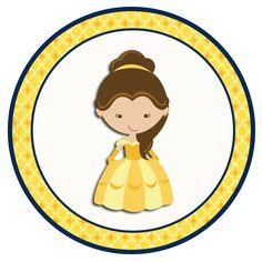 """Convites Digitais Simples: Kit de Personalizados Tema """"A Bela e a Fera"""" para Imprimir"""