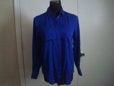 NWT J Crew  Women   Petite silk pocket blouse item 08506  P4 $47 Blue #JCrew #ButtonDownShirt