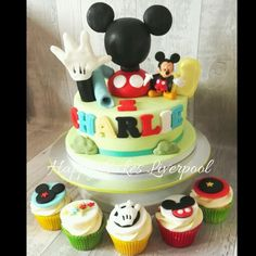 Mickey clubhouse cake with cupcakes