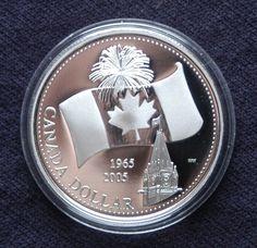 Canada 2005 Canada Maple Leaf Flag 40th Anniversary $1 Pure Silver Dollar Canada Maple Leaf, Canadian Things, 40th Anniversary, Silver Dollar, Coin Collecting, Coins, Flag, Money, History