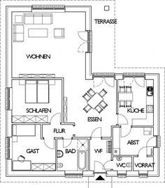 Winkelbungalow Grundriss Erdgeschoss mit 124,05 m² Wohnfläche