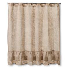 Homthreads Burlap Ruffles Shower Curtain - Natural (72x72),