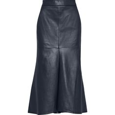 Tibi - Asymmetric Leather Midi Skirt ($500) ❤ liked on Polyvore featuring skirts, midnight blue, asymmetrical leather skirt, midi skirt, tibi, tibi skirt and asymmetrical hem skirt