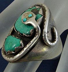 Effie C. Calavaza Zuni Sterling Silver Turquoise Snake Ring Size 9 and from catgre2157 on Ruby Lane