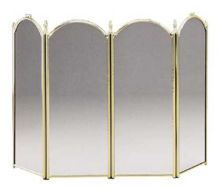 Brass Plated Folding Fireplace Screen