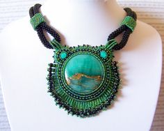 Statement Beadwork Bead Embroidery Pendant Necklace with Green Lace Chalcedony - EMERALD LAGOON - green - black. $125.00, via Etsy.