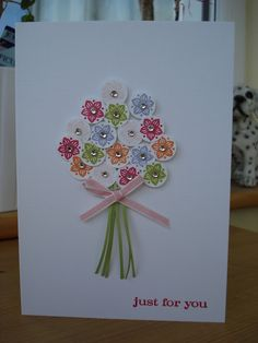 Cute, cute bouquet card...easy change make the flowers with buttons and they can be balloons for a birthday card