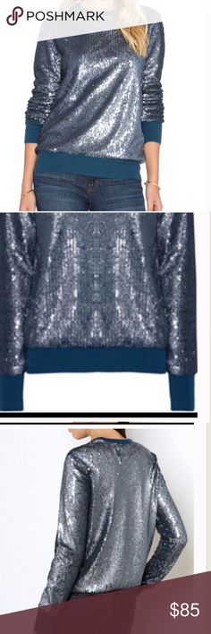 Equipment cashmere sequin sweater blue Nwt Sz m Blue cashmere sequin sweater Nwt Retail $398 Equipment Sweaters Crew & Scoop Necks