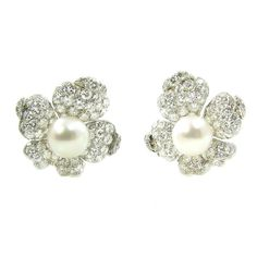 Marianne Ostier Gorgeous Pearl Diamond Flower Earrings | From a unique collection of vintage clip-on earrings at https://www.1stdibs.com/jewelry/earrings/clip-on-earrings/