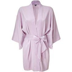 3.1 PHILLIP LIM Lilac Kimono Sash Jacket ($180) ❤ liked on Polyvore featuring intimates, robes, pajamas, lingerie, pijamas, silk lingerie, silk kimono, silk robe, kimono robe and silk kimono robe