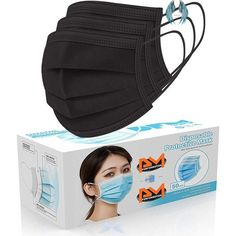 [50 Pc/Box] Face Mask Disposable Non Surgical 3-Ply Earloop Mouth Cover Masks- Black (USA Seller in stock) [50 PcBox] Face Mask Disposable Non Surgical 3-Ply Earloop Mouth Cover Masks- Black USA Seller in stock surgical face mask pattern free printable surgical face mask pattern acne face mask 3d face mask pattern avocado face mask bandana face mask baking soda face mask bandana face mask diy black on black outfits fitted face mask pattern<br>