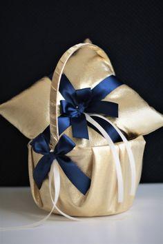 Gold Navy Wedding Flower Girl Basket & Ring Bearer by AlexEmotions